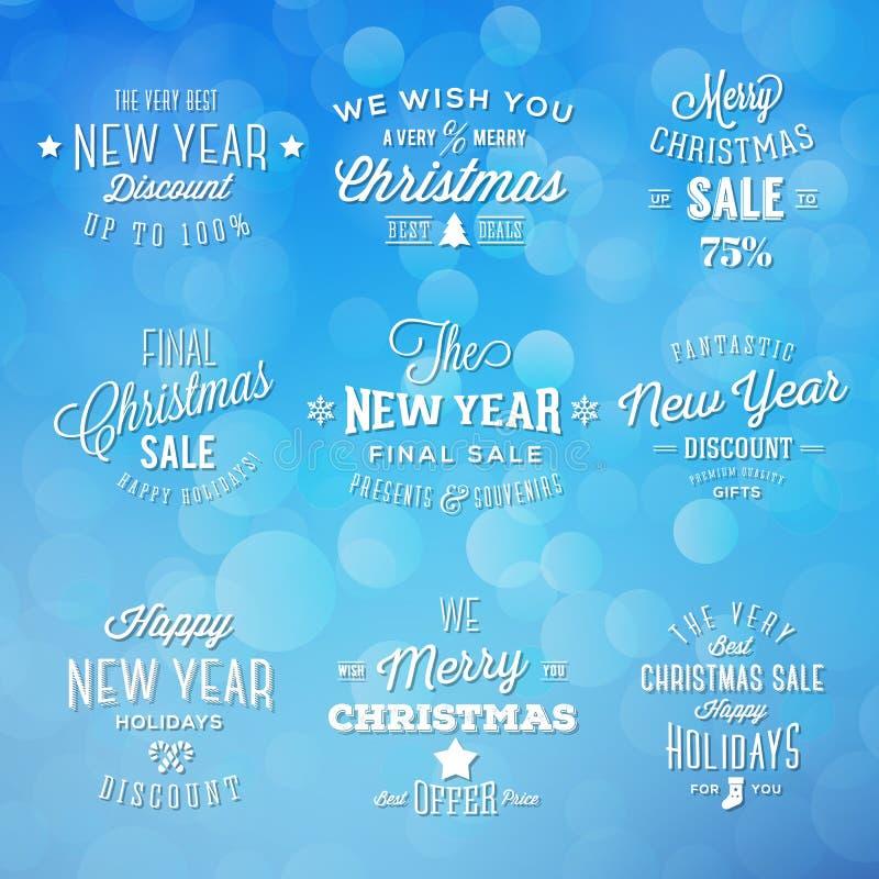 Boże Narodzenia i nowego roku rocznika typografii wakacje royalty ilustracja