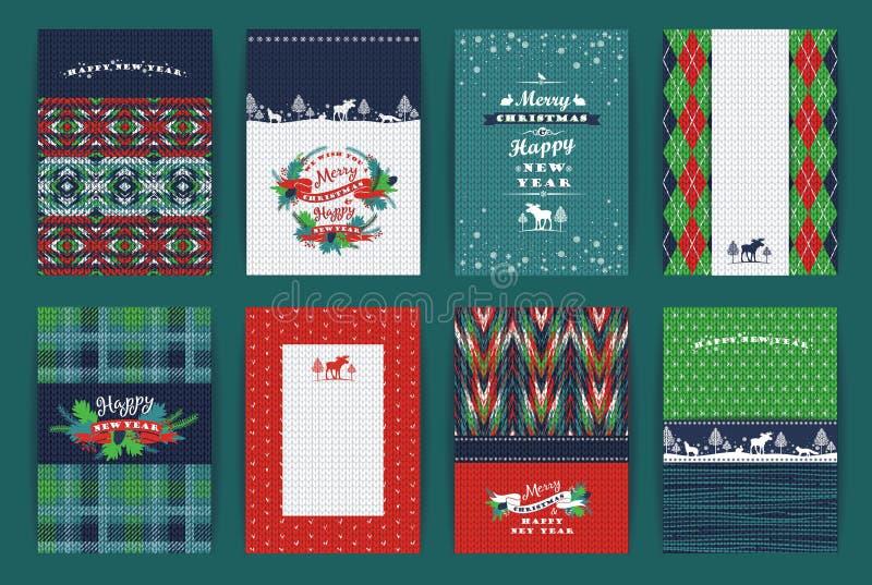 Boże Narodzenia i nowego roku set Szkocka krata i trykotowi tła ilustracji