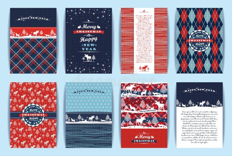 Boże Narodzenia i nowego roku set Szkocka krata i trykotowi tła royalty ilustracja
