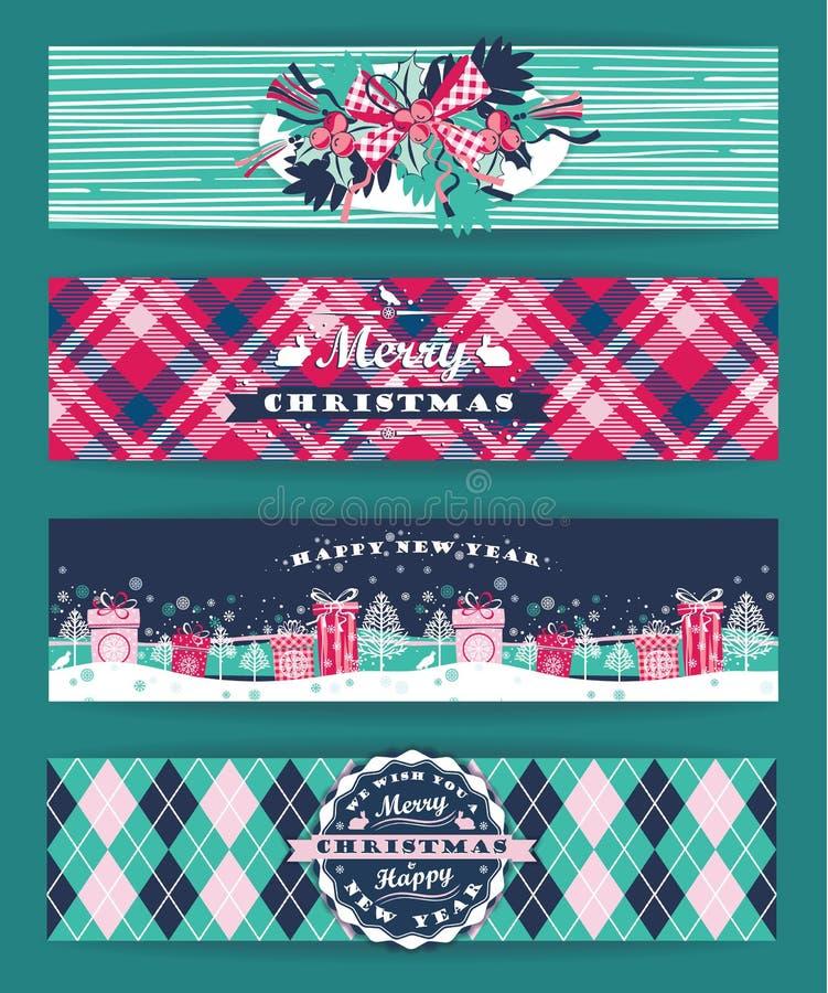 Boże Narodzenia i nowego roku set Szkockich krat tła ilustracji