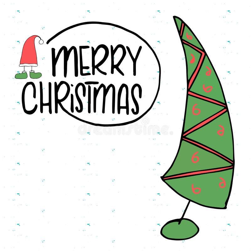Boże Narodzenia i nowego roku szablon z drzewem i pudełkiem dla Witać, gratulacje, zaproszenia, etykietki, majchery, pocztówki Ve fotografia stock