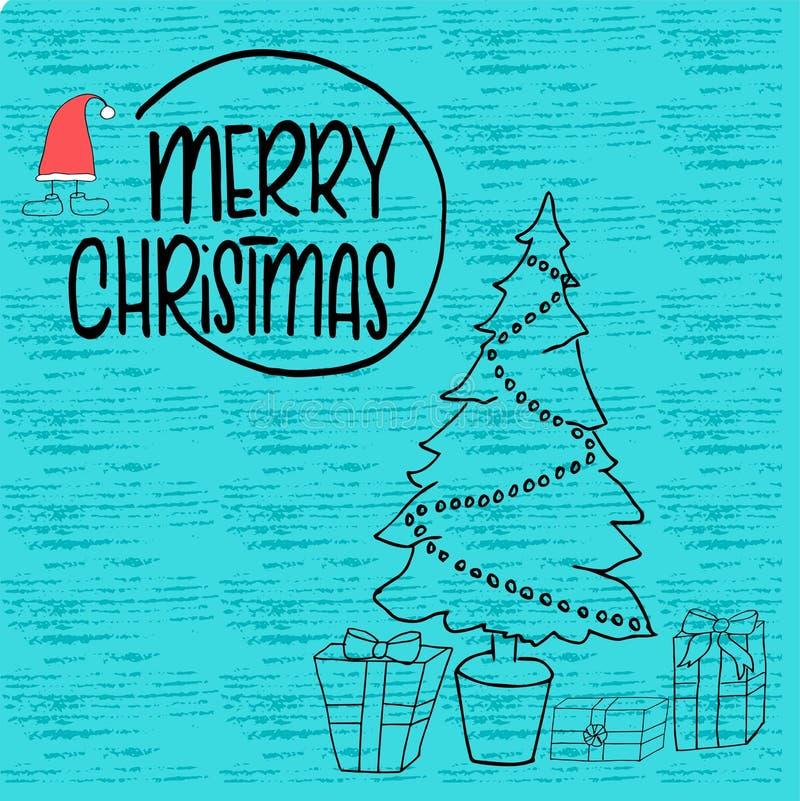 Boże Narodzenia i nowego roku szablon z drzewem i pudełkiem dla Witać, gratulacje, zaproszenia, etykietki, majchery, pocztówki Ve obrazy stock