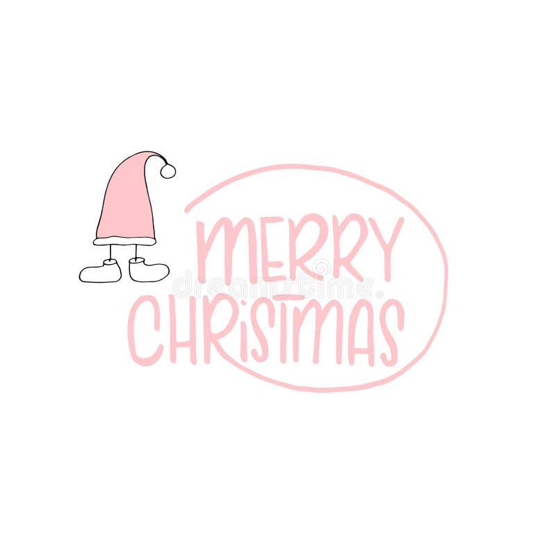 Boże Narodzenia i nowego roku szablon z Santa kapeluszem dla Witać, gratulacje, zaproszenia, etykietki, majchery, pocztówki wekto fotografia stock