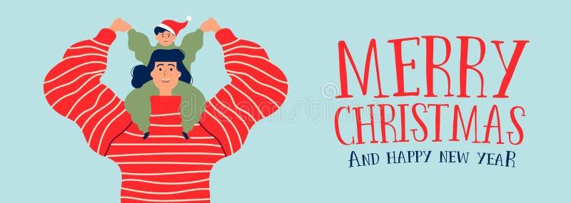 Boże Narodzenia i nowego roku sztandar mama z synem ilustracja wektor
