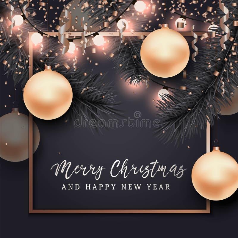 Boże Narodzenia i nowego roku tło dla karty royalty ilustracja