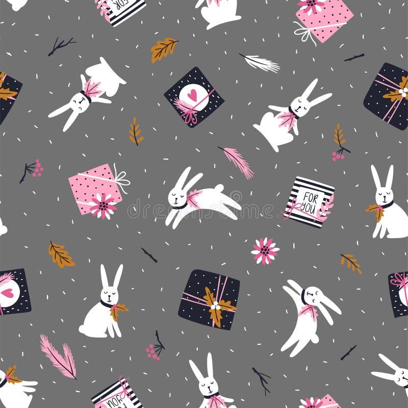 Boże Narodzenia i nowego roku tło Wektorowy Bezszwowy wzór z choinką, prezentów pudełkami, białymi królikami i poinsecją, ilustracji