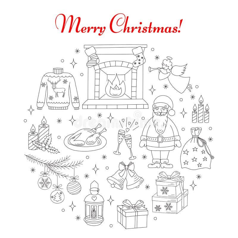 Boże Narodzenia i nowego roku wakacje linii ikony ustawiać royalty ilustracja