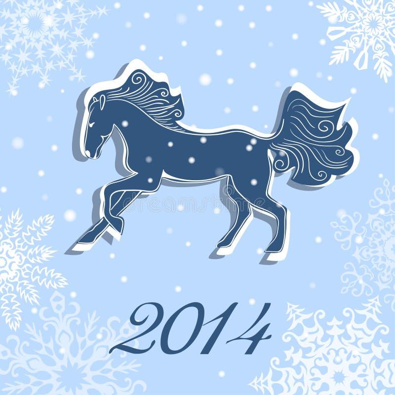 Boże Narodzenia i nowego roku wektoru karta z koniem ilustracja wektor