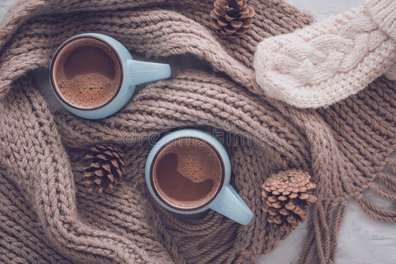 Boże Narodzenia i nowego roku wygodny wakacyjny skład z szalikiem, mitynkami, sosna rożkiem, kubkami z kakao lub czekoladą na sza obrazy stock