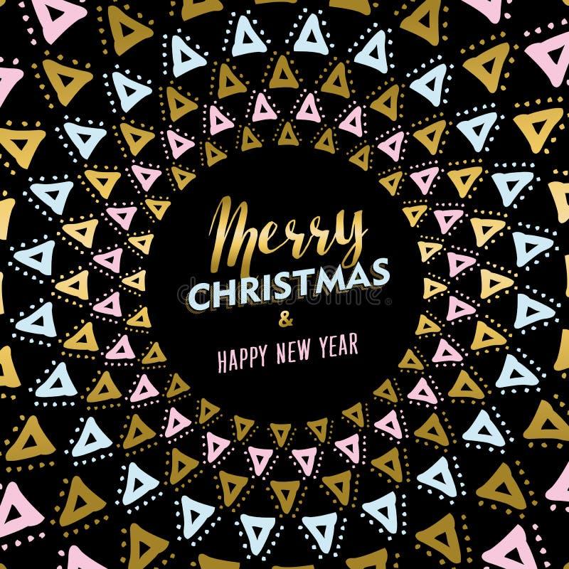 Boże Narodzenia i nowego roku złocisty mandala karciany projekt royalty ilustracja