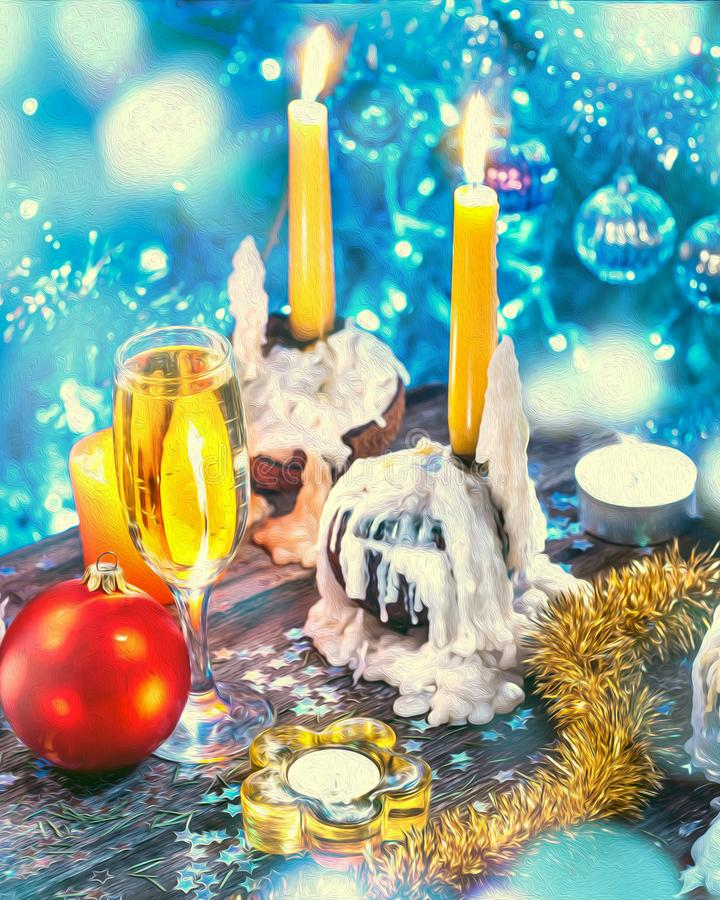 Boże Narodzenia i nowy rok dekoracje z szampanem i świeczkami obraz stock
