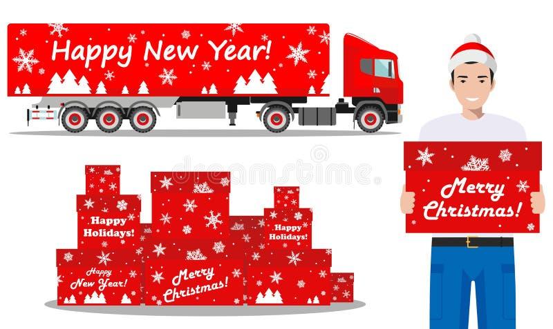 Boże Narodzenia i nowy rok dostawa Set szczegółowa ilustracja doręczeniowa ciężarówka, prezentów pudełka i deliveryman, trzymamy  ilustracji
