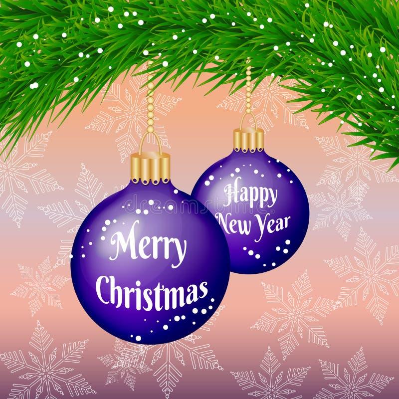 Boże Narodzenia i nowy rok gratulacje karta z baubles i choinką ilustracja wektor