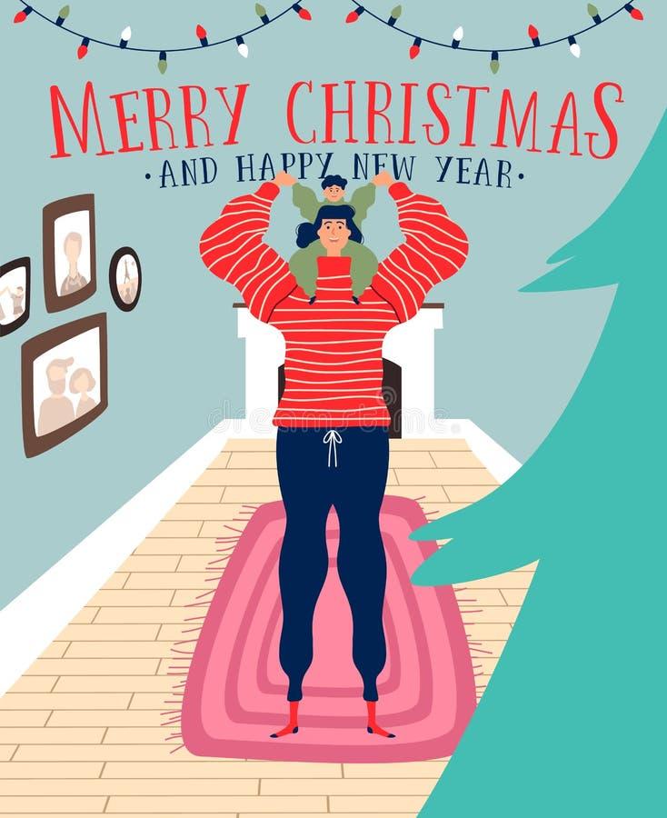 Boże Narodzenia i nowy rok karta mama z synem ilustracji