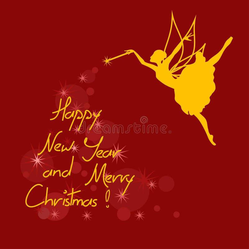Boże Narodzenia i nowy rok karta z czarodziejką ilustracji