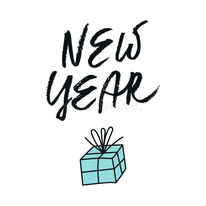 Boże Narodzenia i nowy rok karta z ręka rysującym boxe literowania i prezenta również zwrócić corel ilustracji wektora ilustracja wektor