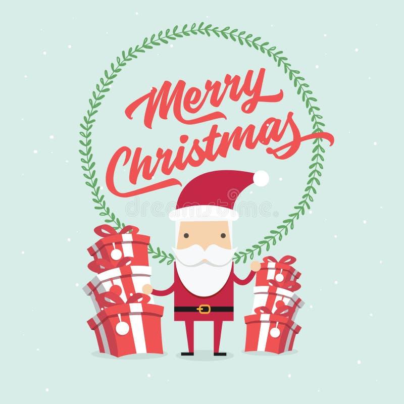 Boże Narodzenia i nowy rok kartka z pozdrowieniami, Święty Mikołaj z prezenta pudełkiem ilustracji