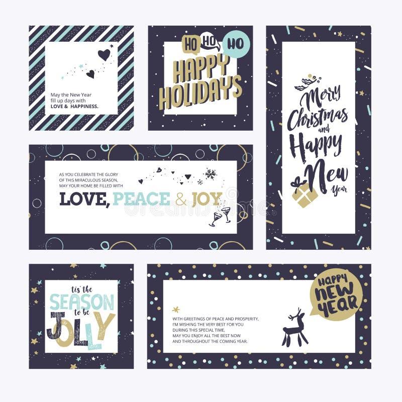 Boże Narodzenia i nowy rok kartka z pozdrowieniami inkasowi royalty ilustracja
