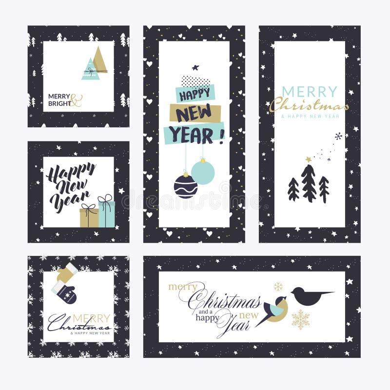 Boże Narodzenia i nowy rok kartka z pozdrowieniami inkasowi ilustracji