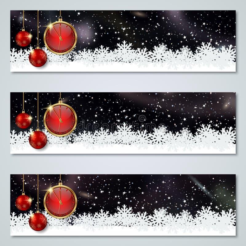 Boże Narodzenia i nowy rok luksusowi kolorowi wektorowi sztandary inkasowi ilustracji
