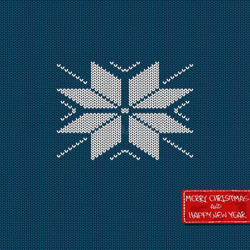 Boże Narodzenia i nowy rok trykotowa deseniowa karta ilustracja wektor