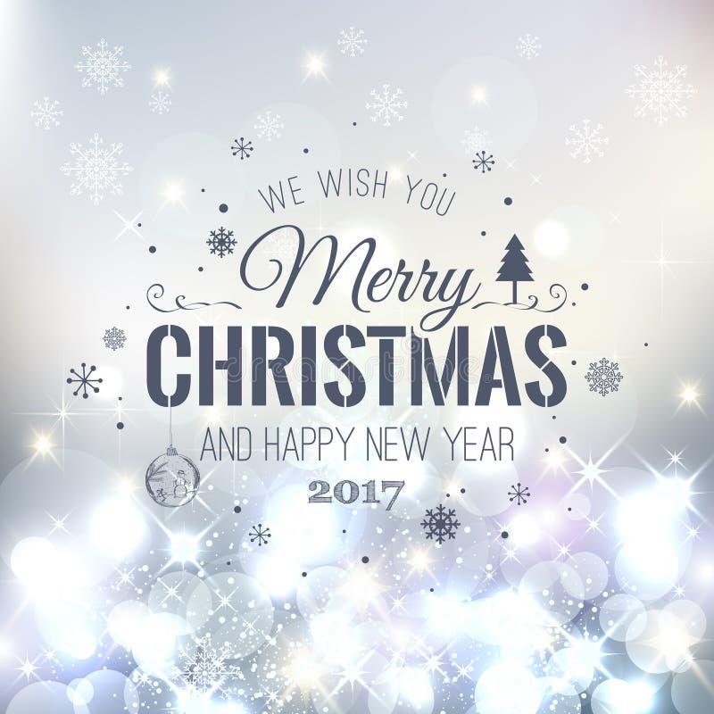 Boże Narodzenia I nowy rok Typographical na Srebnym Xmas tle z płatkami śniegu, światło, grają główna rolę również zwrócić corel  royalty ilustracja