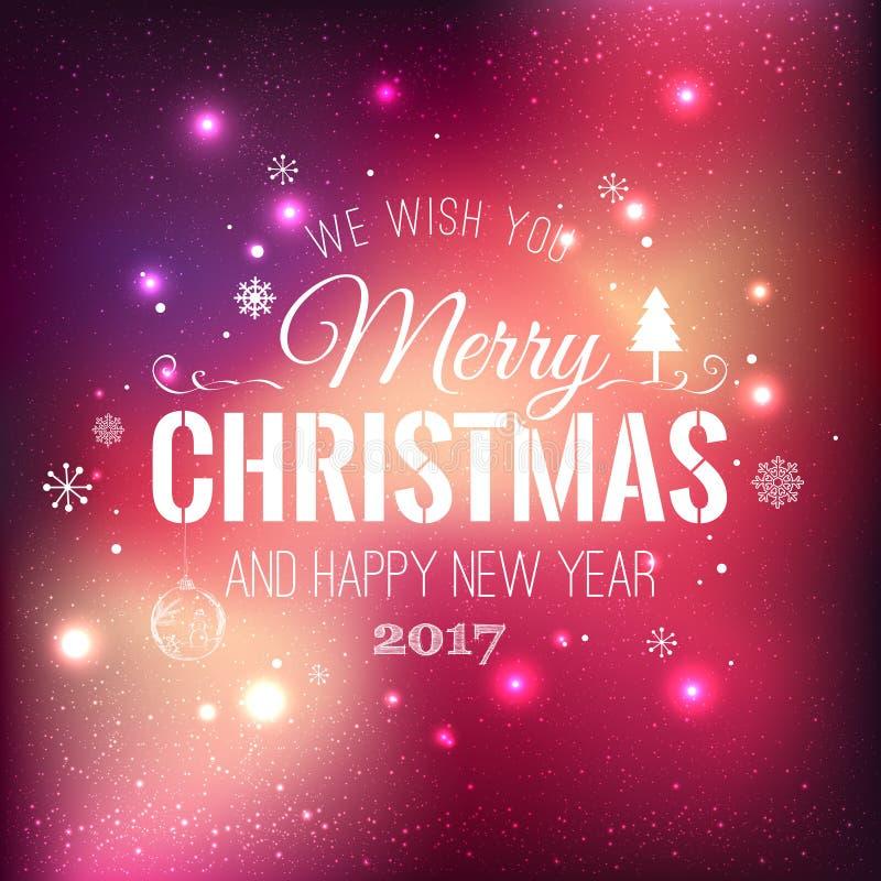 Boże Narodzenia i nowy rok typographical na wakacje tle z płatkami śniegu, światło, grają główna rolę również zwrócić corel ilust ilustracja wektor