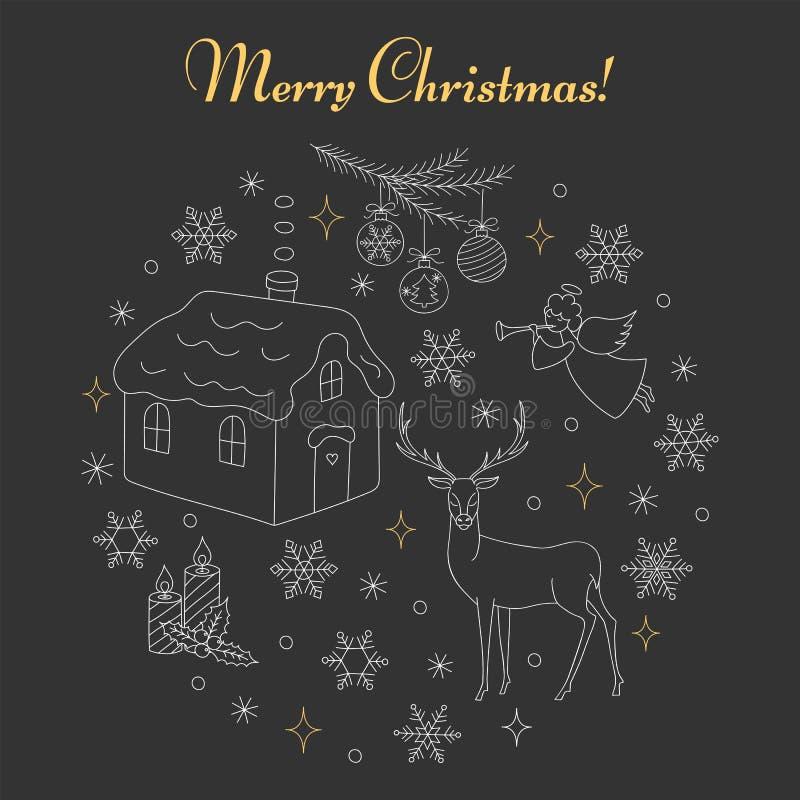 Boże Narodzenia i nowy rok wakacyjne ikony ustawiać royalty ilustracja