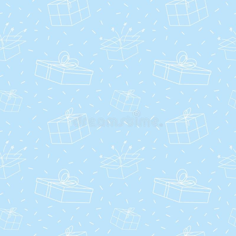 Boże Narodzenia i nowy rok wigilii zimy wakacji bezszwowy wzór z białymi prezentów pudełkami na bławym tle 1866 opierały się Karo ilustracja wektor