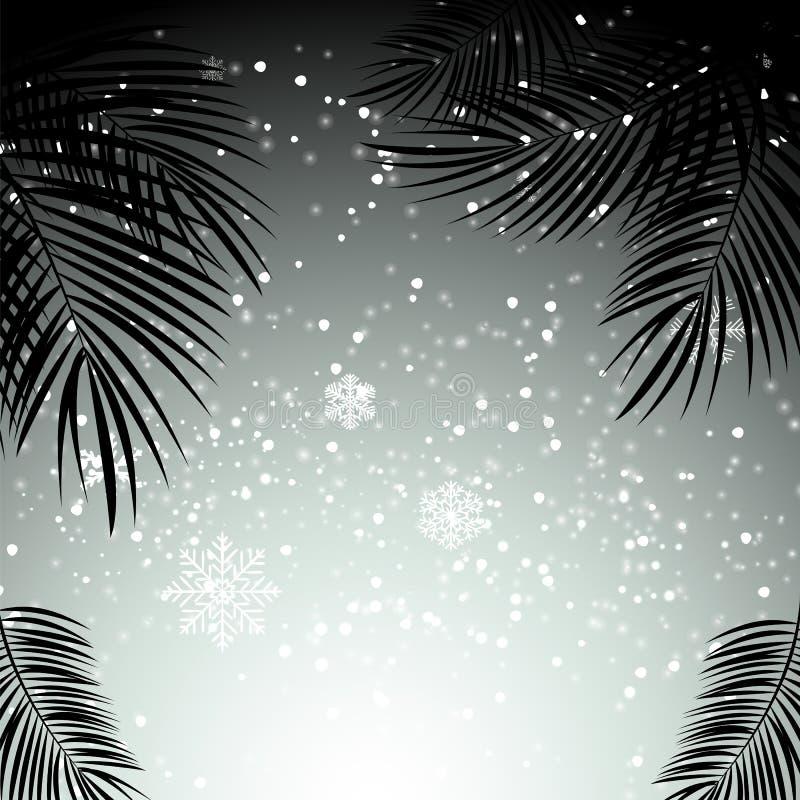 Boże Narodzenia i nowy rok z palma liśćmi w tle Wektor il ilustracja wektor