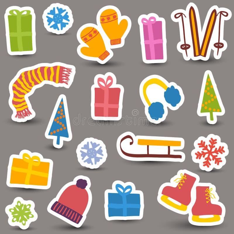 Boże Narodzenia i zim ikony royalty ilustracja