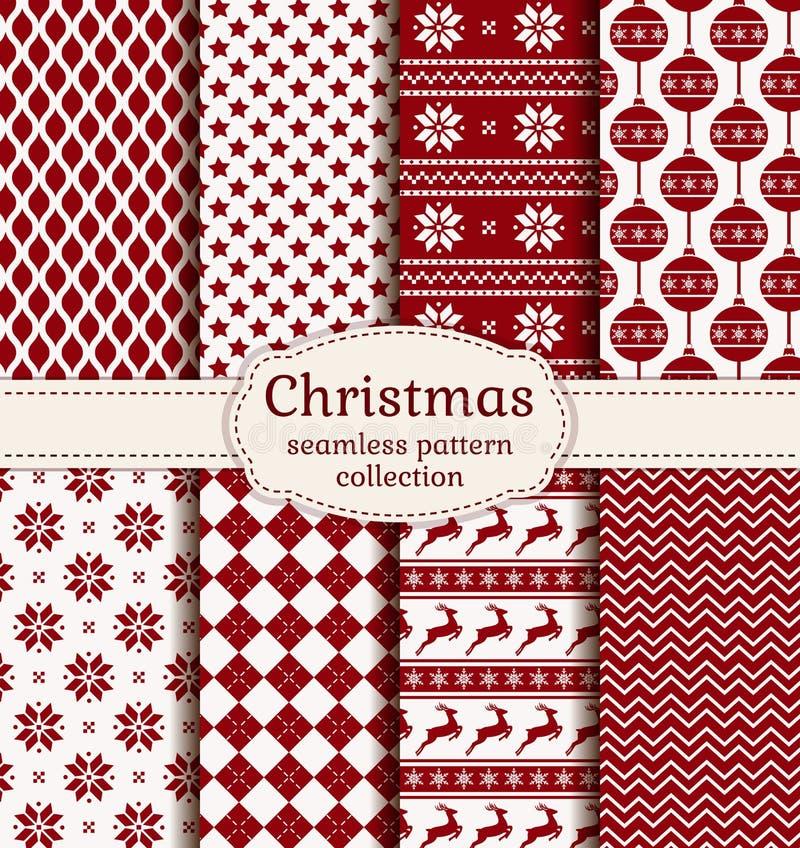 Boże Narodzenia i zima bezszwowi wzory kreskówki serc biegunowy setu wektor royalty ilustracja