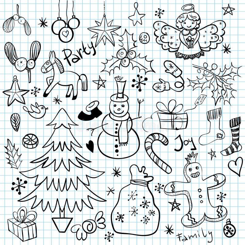 Boże Narodzenia i zima wakacje Doodles royalty ilustracja
