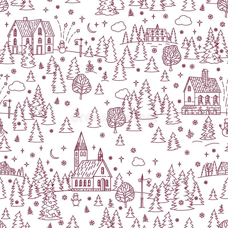 Boże Narodzenia Kształtują teren Bezszwowego tło ilustracja wektor