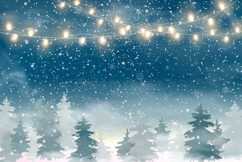 Boże Narodzenia kształtują teren z Spada Bożenarodzeniowym śniegiem, iglastym lasowym Wakacyjnym zima krajobrazem dla Wesoło boży ilustracji