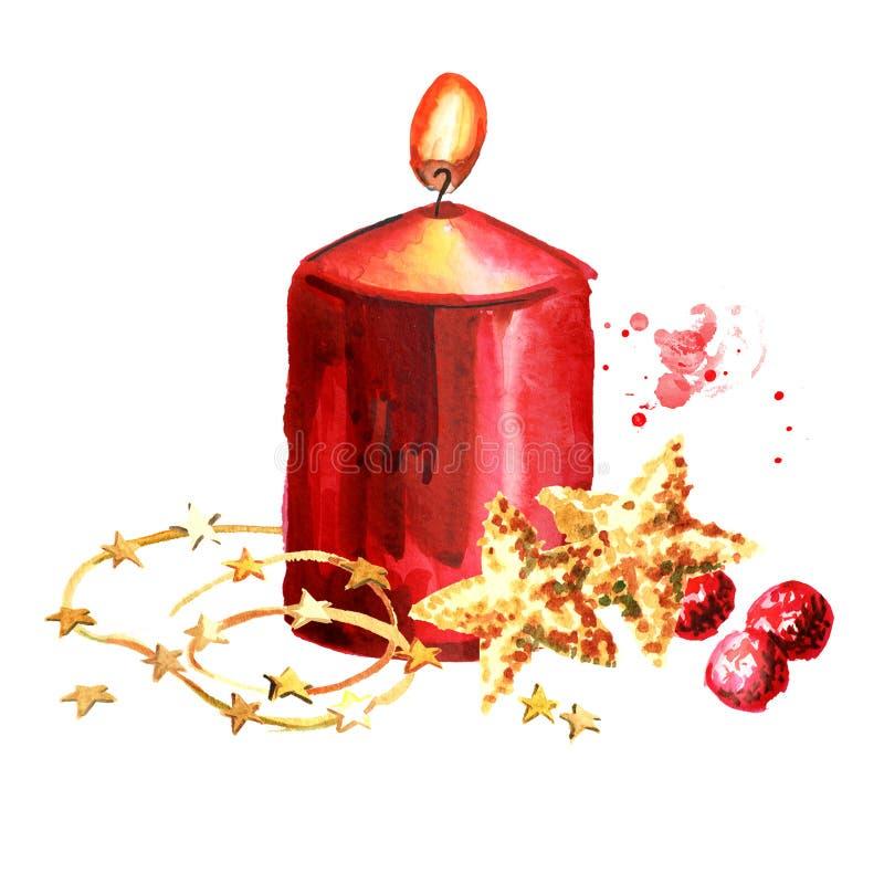 Boże Narodzenia lub nastanie czerwona świeczka z dekoracją Akwareli r?ka rysuj?ca ilustracja, odizolowywaj?ca na bia?ym tle ilustracji