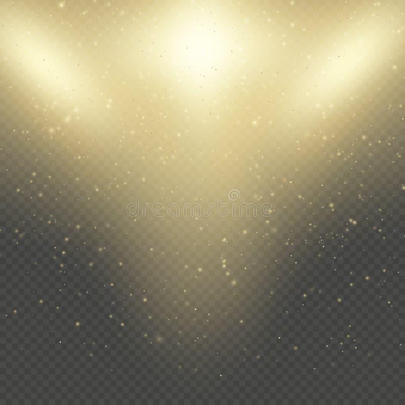 Boże Narodzenia lub nowego roku jarzyć się błyskają deszcz Abstrakcjonistyczny złocisty błyskotliwości przestrzeni mgławicy połys ilustracji