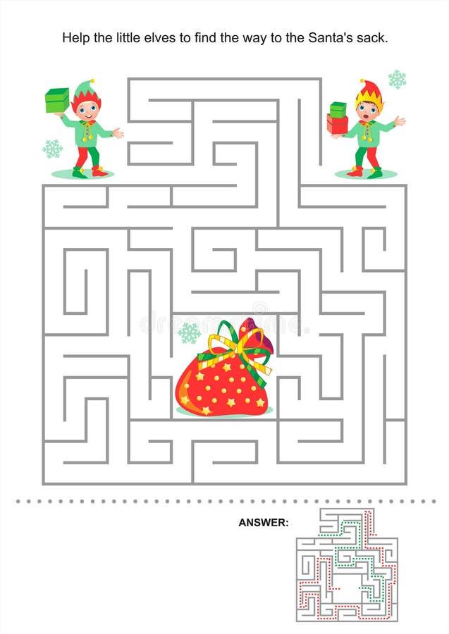 Boże Narodzenia lub Nowego Roku labiryntu gra dla dzieciaków ilustracja wektor