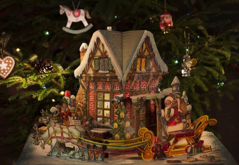 Boże Narodzenia lub nowego roku ` s skład z czarodziejka domem zdjęcie royalty free