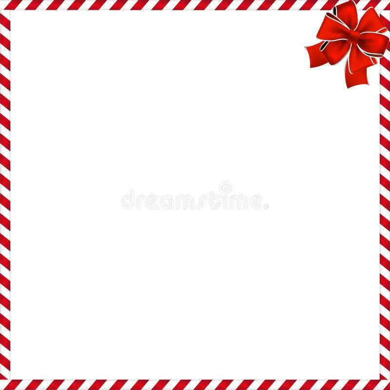 Boże Narodzenia lub nowy rok granica z lizaka wzorem zawijającym z czerwonym świątecznym faborkiem czerwonym i białym ilustracja wektor