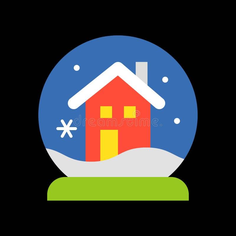 Boże Narodzenia mieścą śnieżną kulę ziemską, Wesoło bożych narodzeń ikony wypełniający set ilustracji