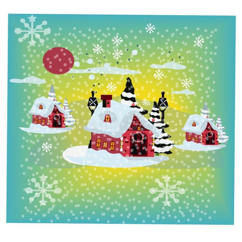 Boże Narodzenia Mieścą Zakrywającego Śnieżnego kartki z pozdrowieniami tła plakat również zwrócić corel ilustracji wektora royalty ilustracja