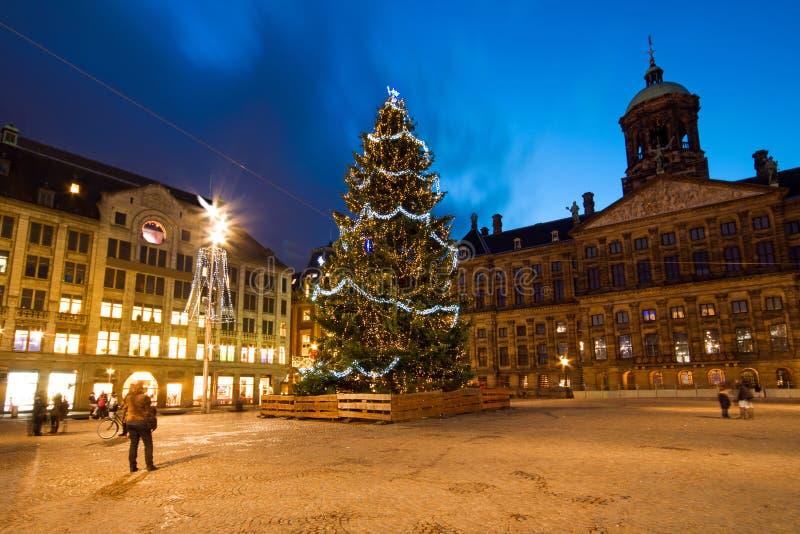 Boże Narodzenia na Ogroblają kwadrat w Amsterdam holandie obrazy stock