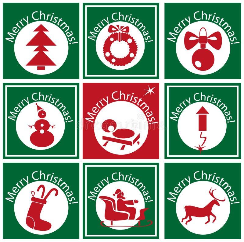 Boże Narodzenia na zielonym okręgu z ikoną ilustracja wektor