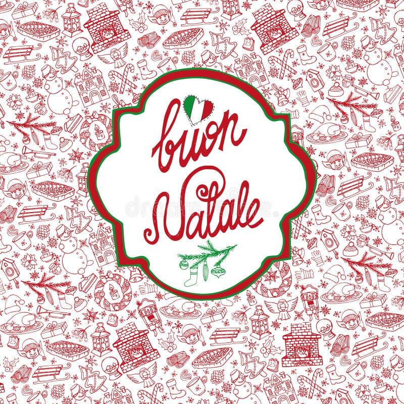 Boże Narodzenia, Natale karta Deseniowy tło, etykietka ilustracji