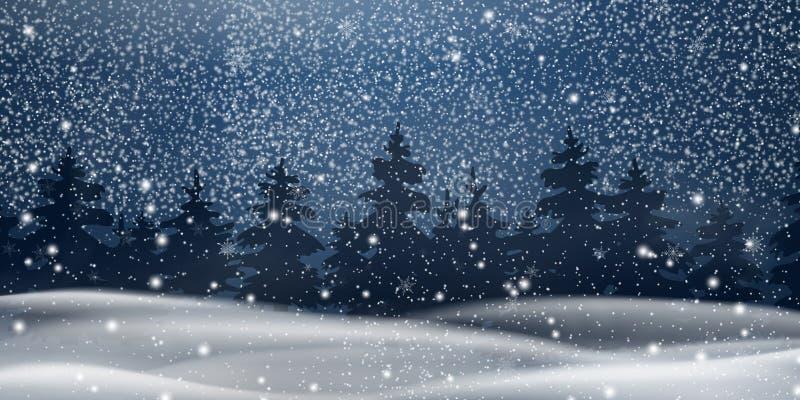Boże Narodzenia, noc lasu Śnieżny krajobraz tło płatków śniegu biały niebieska zima Wakacyjny zima krajobraz dla Wesoło bożych na ilustracji