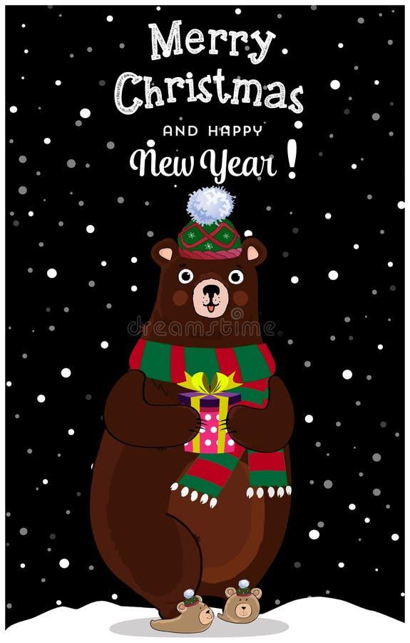 Boże Narodzenia, nowego roku śliczny kreskówka niedźwiedź w trykotowym kapeluszu z prezentem na nocy śnieżnym tle kartka z pozdro ilustracja wektor