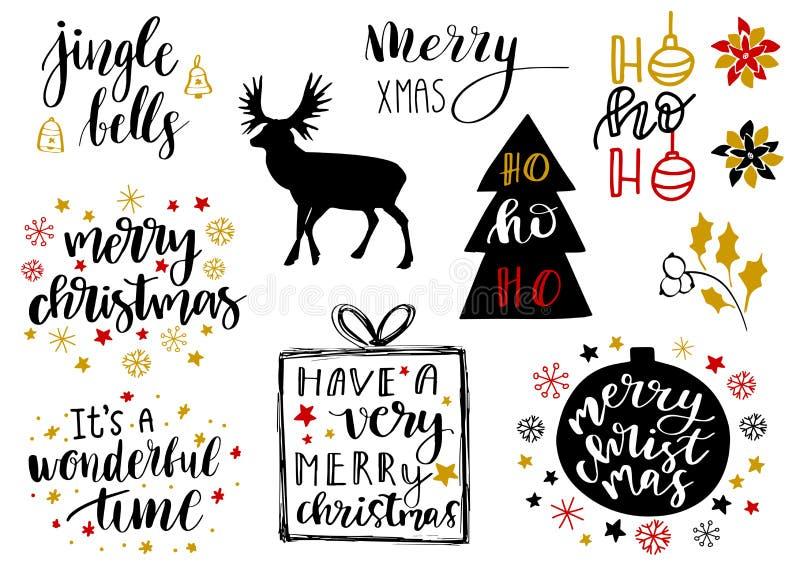 Boże Narodzenia, nowego roku 2018 literowanie i dekoracyjni elementy inkasowi Wektorowy ilustracyjny ustawiający dla kartka z poz ilustracji
