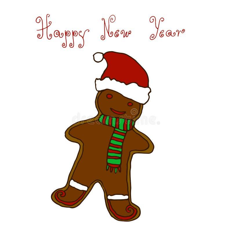 Boże Narodzenia, nowego roku powitania ręki karcianego projekta rysunkowy gingerbrea ilustracja wektor