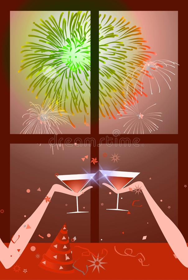Boże Narodzenia - Nowego Roku Przyjęcie - Czerwień & Zieleń Bezpłatny Obraz Stock